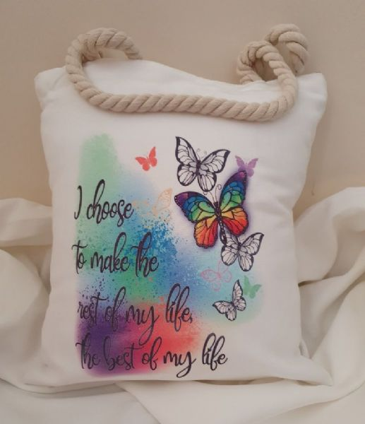 Rest Of My Life Decorative Inspirational Quote Rope Handled Canvas Shopper Bag